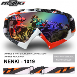 Очки кроссовые NENKI NK-1019 ORANGE&WHITE BORDER / ORANGE HEADBAND