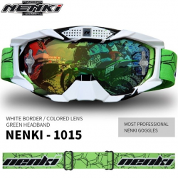 Очки кроссовые NENKI NK-1015 WHITE BORDER / GREEN HEADBAND